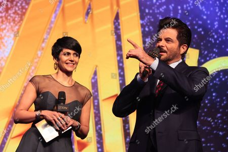 Bollywood actor Anil Kapoor and actrss Mandira Bedi during the launch and success party of India's first luxury retail destination 'Elan Epic' at The Ritz