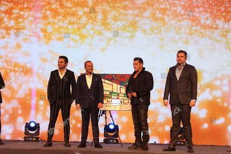 Bollywood actors Salman Khan and Anil Kapoor with Elan Group's Chairman Mr. Rakesh Kapoor and Directors Mr. Ravish Kapoor and Mr. Akash Kapoor, during the launch and success party of India's first luxury retail destination 'Elan Epic' at The Ritz
