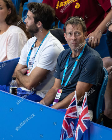 Stock Picture of Katie Boulter's coach Jeremy Bates and Cameron Norrie's coach Facundo Lugones