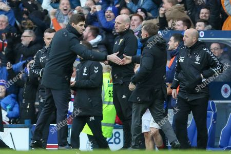 Rangers manager Steven Gerrard shakes the hand of Brendan Rogers, manager of Celtic FC after the game during the Ladbrokes Scottish Premiership match between Rangers and Celtic at Ibrox, Glasgow