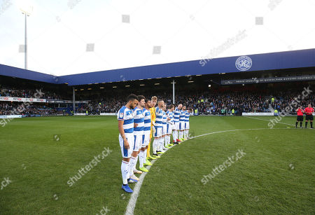 Stock Image of The teams take part in a minute's applause in memory of those QPR players (like Ray Wilkins) who died in 2018