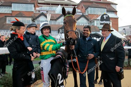 Champ named after Sir Anthony McCoy [absent] with Lady Chanelle McCoy, Barry Geraghty and Nicky Henderson after victory in the Betway Challow Novices' Hurdle at Newbury.