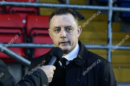 Tony Roberts is interviewed during Dagenham & Redbridge vs Barnet, Vanarama National League Football at the Chigwell Construction Stadium on 29th December 2018
