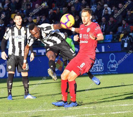 Udinese's Seiko Fofana (L) and Cagliari's Filip Bradaric (R) in action during the Italian Serie A soccer match Udinese vs Cagliari at Friuli stadium in Udine, Italy, 29 December 2018.