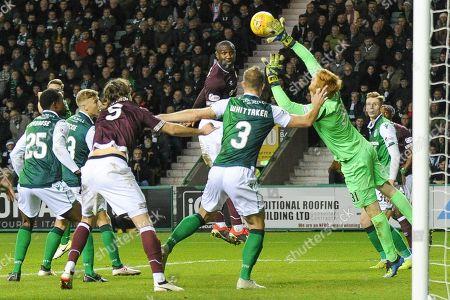 Adam Bogdan makes a vital save during the Ladbrokes Scottish Premiership match between Hibernian and Heart of Midlothian at Easter Road, Edinburgh