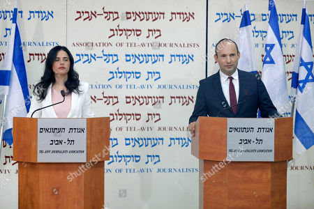 Israeli Minister of Justice Ayelet Shaked (L) and Minister of Education Naftali Bennett (R)  announce their retirement from the The Jewish Home party during a press conference in Tel Aviv, Israel, 29 December 2018. The two said they are forming a new right-wing party, the 'New Right' to run in the 2019  elections. According to reports, the heads of the coalitions at the Israeli parliament agreed on 24 December to dissolve the Israeli parliament and go to early elections on 09 April 2019.