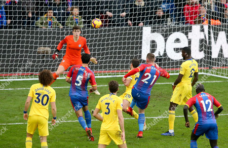 Connor Wickham (21) of Crystal Palace's late chance for the equaliser goes begging