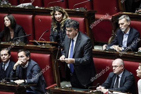 Democratic Party's deputy Emanuele Fiano talks during the debate prior to voting on the budget law in the Chambre of Deputies in Rome, Italy, 30 December 2018. The final vote on the Italian 2019 budget bill in the Chamber of Deputies, the lower house of the parliament, is taking place on 30 December 2018.