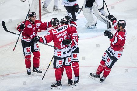 Team Canada celebrates after scoring the 1-0 during the game between Team Canada and Thomas Sabo Ice Tigers at the 92th Spengler Cup ice hockey tournament in Davos, Switzerland, 30 December 2018.