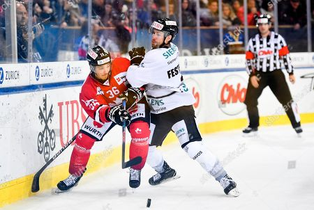 Ice Tigers's Brett Festerling (R) and Team Canada's Matt D'Agostini fight for the puck during the game between Team Canada and Thomas Sabo Ice Tigers at the 92th Spengler Cup ice hockey tournament in Davos, Switzerland, 30 December 2018.