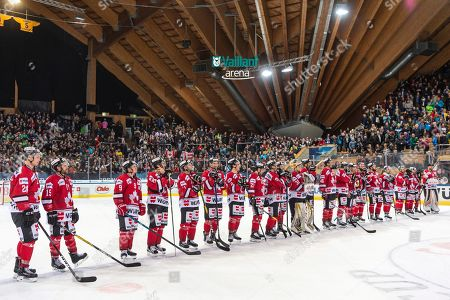 Team Canada after winning the game between Team Canada and Thomas Sabo Ice Tigers at the 92nd Spengler Cup ice hockey tournament in Davos, Switzerland, 30 December 2018.