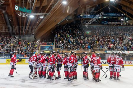 Team Canada celebrate after winning the game between Team Canada and Thomas Sabo Ice Tigers at the 92nd Spengler Cup ice hockey tournament in Davos, Switzerland, 30 December 2018.