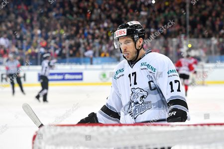Ice Tigers's Patrick Reimer reacts during the game between Team Canada and Thomas Sabo Ice Tigers at the 92nd Spengler Cup ice hockey tournament in Davos, Switzerland, 30 December 2018.