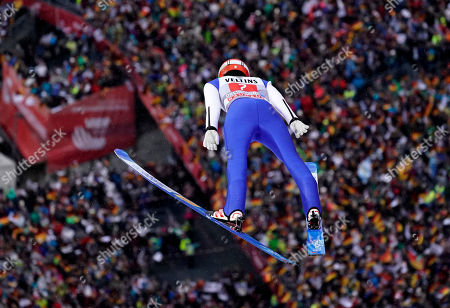 David Siegel of Germany in action during the first stage of the 67th Four Hills Tournament in Oberstdorf, Germany, 30 December 2018.