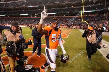 Denver Broncos inside linebacker Brandon Marshall reacts afteran NFL football game against the Los Angeles Chargers, in Denver