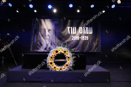 The coffin of Israeli author Amos Oz lies in state during a memorial service at the Tzavta Theater in Tel Aviv, Israel, 31 December 2018. Amos Oz, an award-winning Israeli writer, published 40 books in his career and his works have been translated into 45 different languages. Oz died at the age of 79 after suffering from cancer on 28 December 2018.