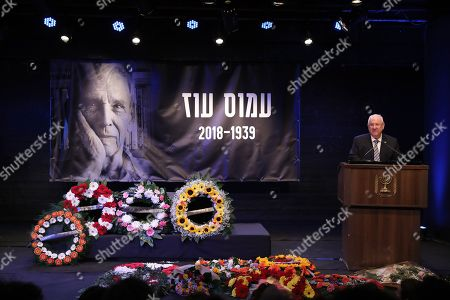 Israeli President Reuven Rivlin delivers a speech next to the coffin of Israeli author Amos Oz during a memorial service at the Tzavta Theater in Tel Aviv, Israel, 31 December 2018. Amos Oz, an award-winning Israeli writer, published 40 books in his career and his works have been translated into 45 different languages. Oz died at the age of 79 after suffering from cancer on 28 December 2018.