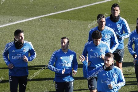 (L-R) Real Madrid's players Kiko Casilla, Lucas Vazquez, Sergio Ramos, Jesus Vallejo, Raphael Varane and Casemiro attend a team's training session at Valdebebas sport complex, outside Madrid, Spain, 31 December 2018. The team prepares its upcoming Primera Division league game against Villareal at Villarreal's Estadio de la Ceramica stadium on 03 January 2019.