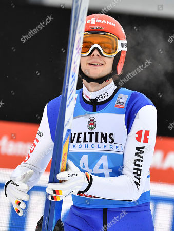 David Siegel of Germany reacts during the qualification for the second stage of the 67th Four Hills Tournament in Garmisch Partenkirchen, Germany, 31 December 2018.