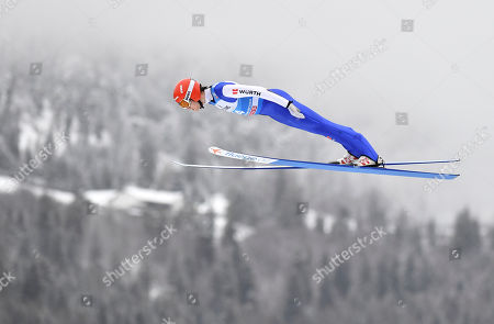 David Siegel of Germany in action during a trial round for the second stage of the 67th Four Hills Tournament in Garmisch Partenkirchen, Germany, 31 December 2018.