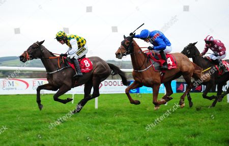 Punchestown TENS OR BETTER & Richard Harding (left) win the Irish Stallion Farms EBF Mares Flat Race from THE CADDY ROSE & DAYLIGHT KATIE