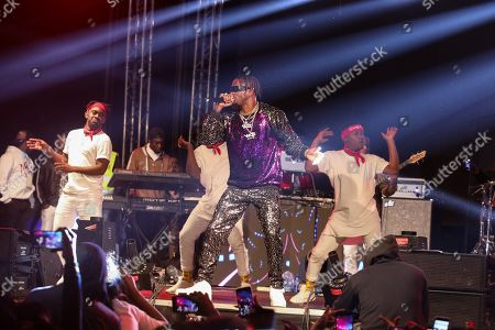 Bongo flava, or Tanzanian hip hop, artist Naseeb Abdul Juma (C), popularly known by his stage name Diamond Platnumz, performs during New Year's Eve celebrations at a concert in Nairobi, Kenya, 01 January 2019.