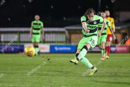 Forest Green Rovers Theo Archibald(18) shoots at goal scores a goal 2-1 during the EFL Sky Bet League 2 match between Forest Green Rovers and Northampton Town at the New Lawn, Forest Green
