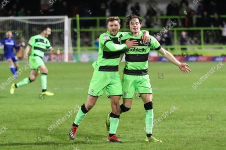 Forest Green Rovers Theo Archibald(18) scores a goal 2-1 and celebrates during the EFL Sky Bet League 2 match between Forest Green Rovers and Northampton Town at the New Lawn, Forest Green