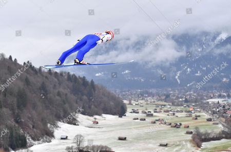 David Siegel of Germany in action during the second stage of the 67th Four Hills Tournament in Garmisch Partenkirchen, Germany, 1 January 2019.