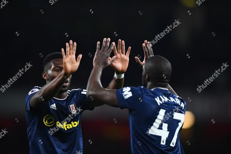 Timothy Fosu Mensah of Fulham, left, congratulates Aboubakar Kamara on his goal