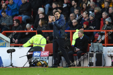 Aitor Karanka manager of Nottingham Forest applauds his team.