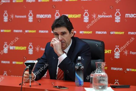 Stock Photo of Aitor Karanka manager of Nottingham Forest talks to the media after the match.