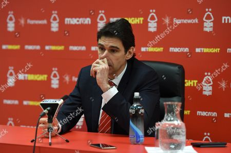 Stock Image of Aitor Karanka manager of Nottingham Forest talks to the media after the match.
