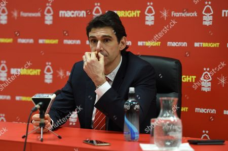 Aitor Karanka manager of Nottingham Forest talks to the media after the match.