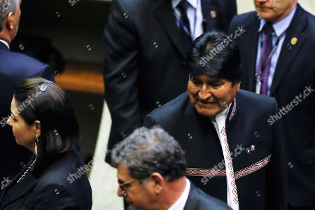 President of Bolivia Evo Morales (R) attends the inauguration event of new Brazilian President Jair Bolsonaro in Brasilia, Brazil, 01 January 2019. Bolsonaro received the representatives of the international delegations after taking office as President before Congress, receiving the presidential band from ex-leader Michel Temer and swearing in his 22 ministers A far-right president leads the biggest Latin America democracy for first time since the end of military rule (1964-1985). Bolsonaro defeated candidate Fernando Haddad in the runoff, held last October, receiving 55 percent of the vote.