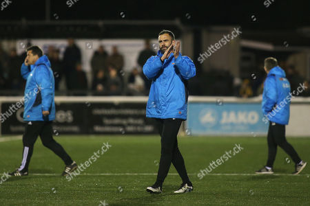 Maidstone United's Caretaker Assistant Manager, Simon Walton, applauds the home fans at the end of the match  during Maidstone United vs Dover Athletic, Vanarama National League Football at the Gallagher Stadium on 1st January 2019