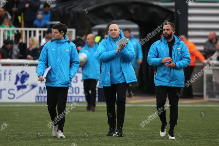Stock Photo of Maidstone United's Interim Management Team, Tristan Lewis (centre) Caretaker Manager and Simon Walton (right) Caretaker Assistant Manager during Maidstone United vs Dover Athletic, Vanarama National League Football at the Gallagher Stadium on 1st January 2019