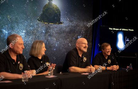 Stock Picture of New Horizons Ultima Thule Flyby. A new image of Ultima Thule, right, is displayed during a press conference after the New Horizons team received confirmation from the spacecraft has completed a flyby of Ultima Thule, at the APL in Laurel, Md. The spacecraft survived the most distant exploration of another world, a tiny, icy object 4 billion miles away that looks to be shaped like a peanut or bowling pin. From left are, New Horizons principal investigator Alan Stern, mission operations manager Alice Bowman, mission systems engineer Chris Hersman, and project scientist Hal Weaver