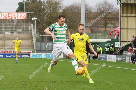 Gary Warren and Luke Varney  during the EFL Sky Bet League 2 match between Yeovil Town and Cheltenham Town at Huish Park, Yeovil