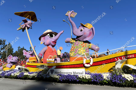 The Northwestern Mutual float wins the Bob Hope Humor Award at the 130th Rose Parade in Pasadena, Calif