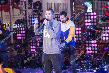 Dan Smith, Kyle Simmons. Dan Smith, left, and Kyle Simmons of Bastille perform at the New Year's Eve celebration in Times Square, in New York