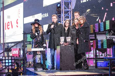 Allison Hagendorf and the Swarovski Crystal team on stage at the New Year's Eve celebration in Times Square, in New York