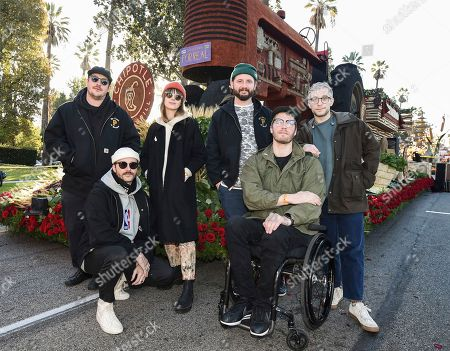 "Zachary Scott Carothers, John Gourley, Zoe Manville, Jason Wade Sechrist, Eric Howk, Kyle O'Quin. From left to right, Zachary Scott Carothers, John Gourley, Zoe Manville, Jason Wade Sechrist, Eric Howk, and Kyle O'Quin of the band Portugal. The Man seen in front of Chipotle's first-ever Rose Parade float ""Cultivate a Better World"" at the 130th Rose Parade, in Pasadena, Calif"