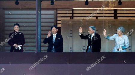 Akihito, Michiko, Naruhito, Masako. Japan's Emperor Akihito, second from right, waves with Empress Michiko, right, Crown Prince Naruhito and Crown Princess Masako to well-wishers from the balcony during his New Year's public appearance with his family members at Imperial Palace in Tokyo . Akihito waved Wednesday to throngs of well-wishers eager to see the final New Year's appearance in his reign