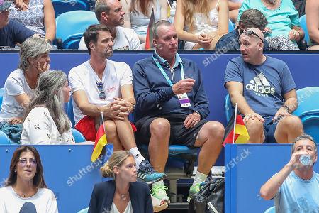 Stock Photo of Alexander Zverev Team, R-L Fitness Trainer Jez Green, Trainer, coach Ivan Lendl and Physiotherapist Hugo Gravil