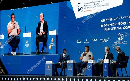 Real Valladolid president and Brazilian former player, Ronaldo Nazario (2-L) speaks  during the first day of the 13th edition of Dubai International Sports Conference in the Gulf emirate of Dubai, United Arab Emirates on 02 January 2019.