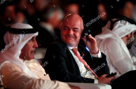 (L-R)  Maj. Gen. Mohammed Khalfan Al Rumaithi, Commander-in-Chief of Abu Dhabi Police, Gianni Infantino, FIFA President and HH Sheikh Mansour bin Mohammed bin Rashid Al Maktoum, President of the Dubai International Marine Club attend the first day of the 13th edition of Dubai International Sports Conference in the Gulf emirate of Dubai, United Arab Emirates, 02 January 2019.