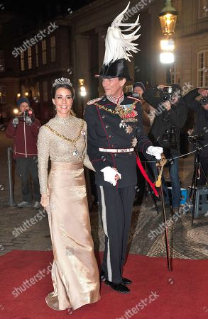 Prince Joachim and Princess Marie arrive at Her Majesty Queen Margrethe's traditional New Year's Banquet for government ministers, court officials and military heads on 01 January 2019, Copenhagen, Denmark. The Banquet was held at Christian VII's Palace at Amalienborg in Copenhagen.