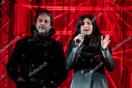 Deputy Mayor Luca Bergamo and Mayor of Rome Virginia Raggi during the show for the New Year at Circus Maximus