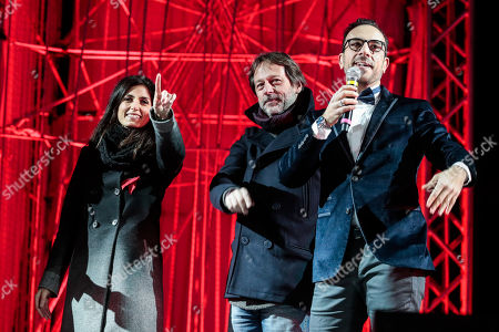 Mayor of Rome Virginia Raggi, Deputy Mayor Luca Bergamo, Beppe De Marco during the show for the New Year at Circus Maximus